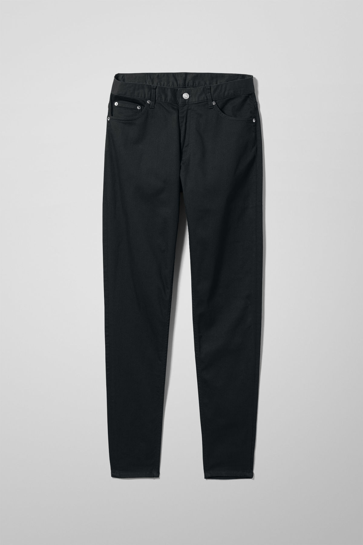Front image of Weekday cone stay black jeans in black