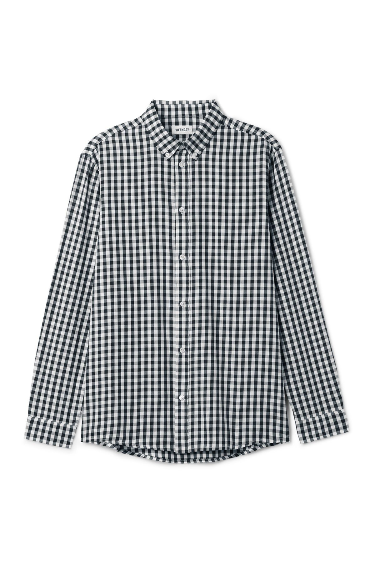 Front image of Weekday seattle ginham shirt in blue