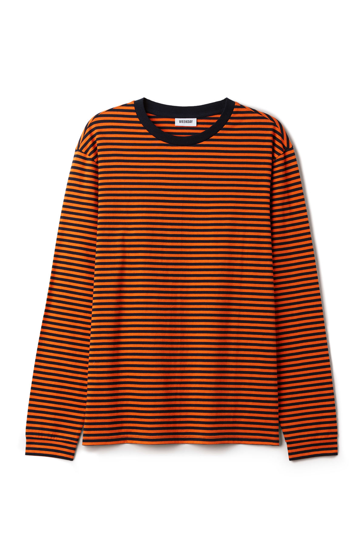 Front image of Weekday leonardo stripe long sleeve in orange