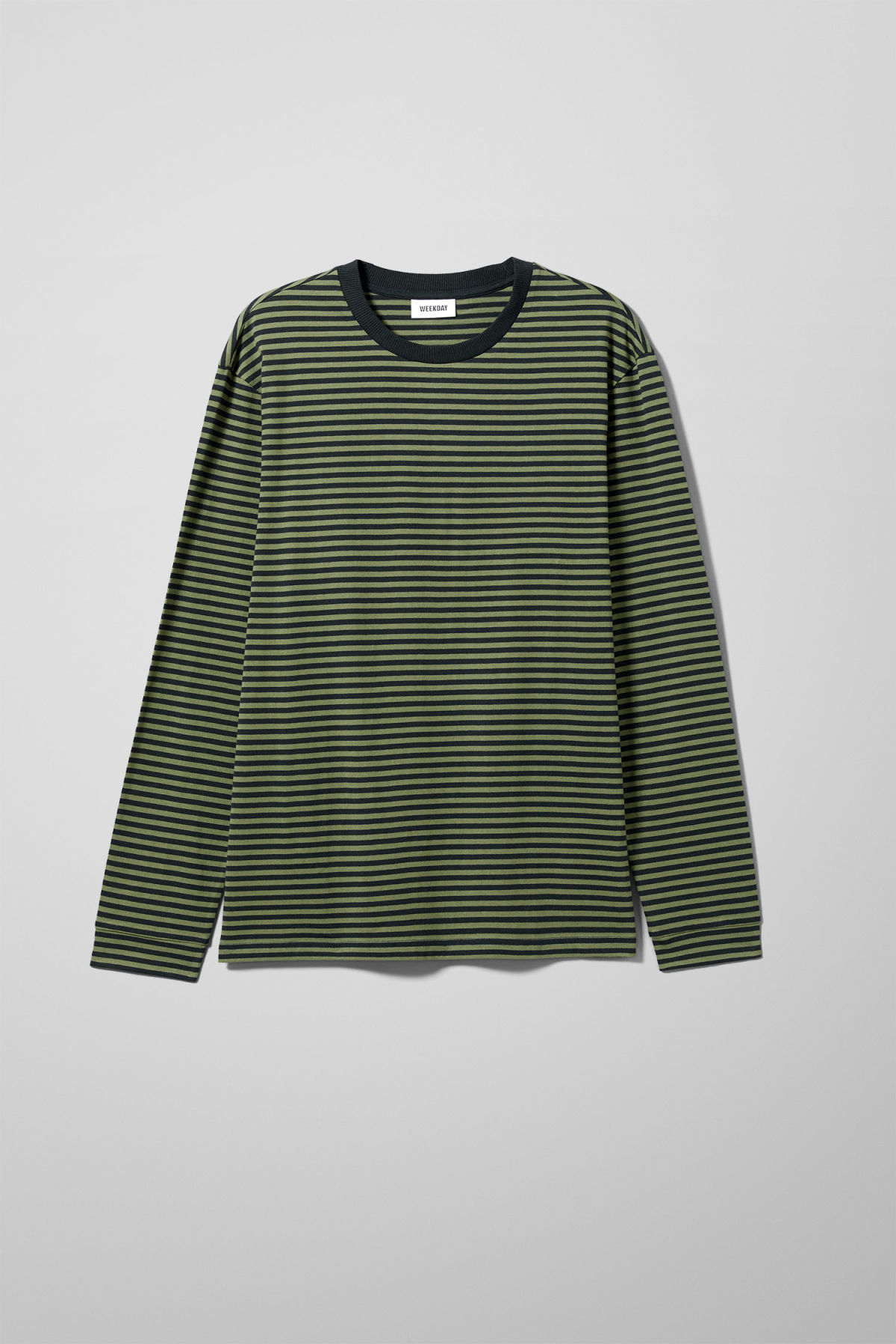 Front image of Weekday leonardo stripe long sleeve in green