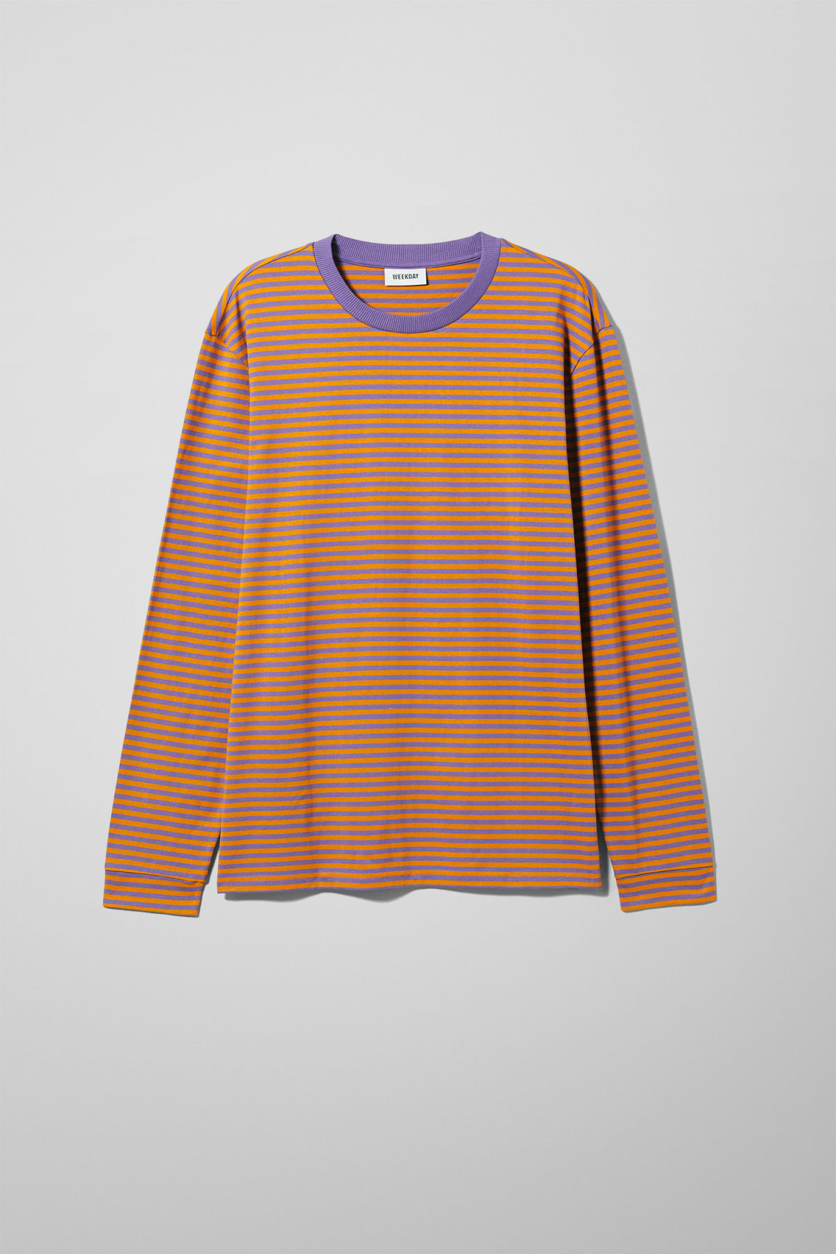 Front image of Weekday leonardo stripe long sleeve in yellow