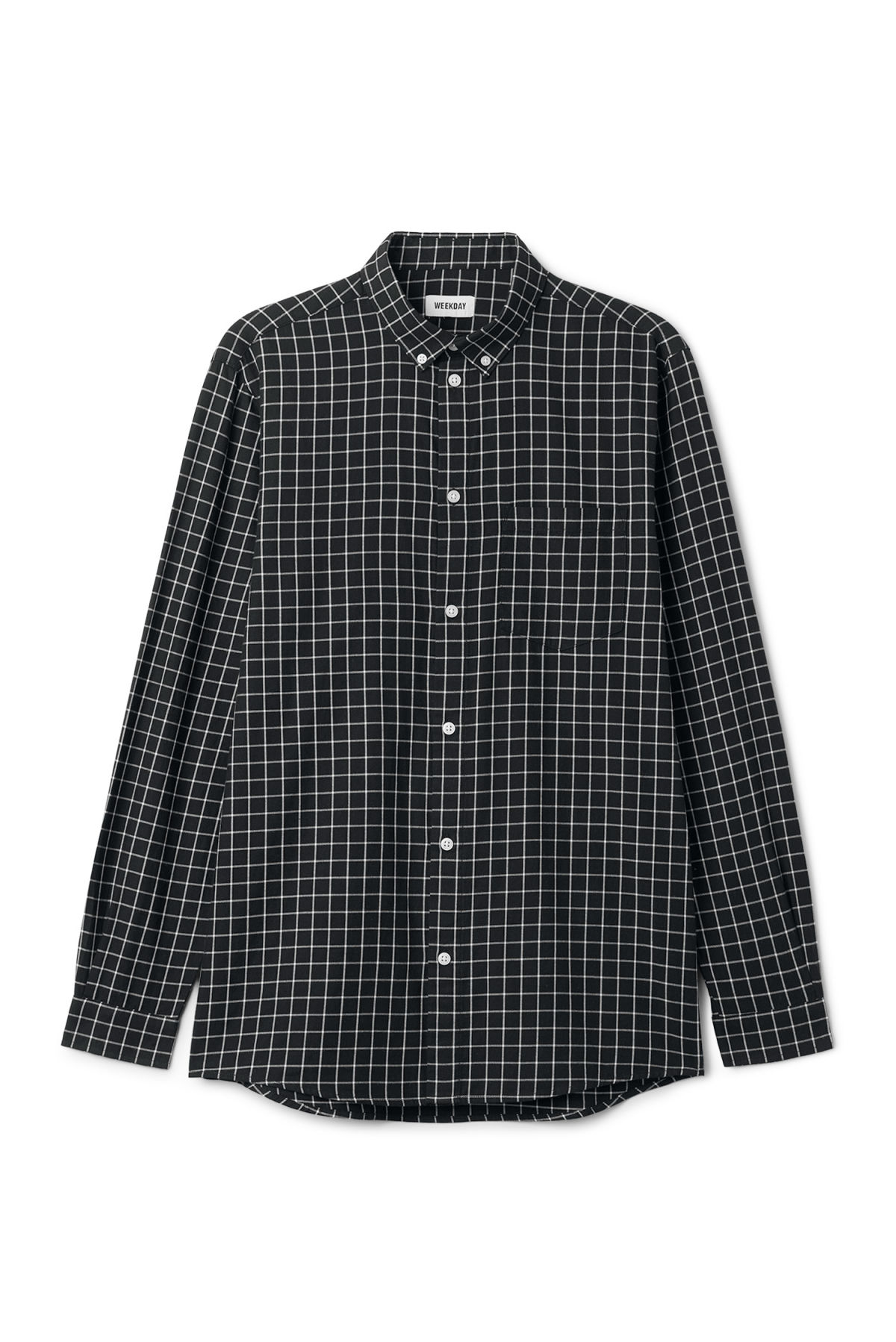 Front image of Weekday ray windowpane shirt in black