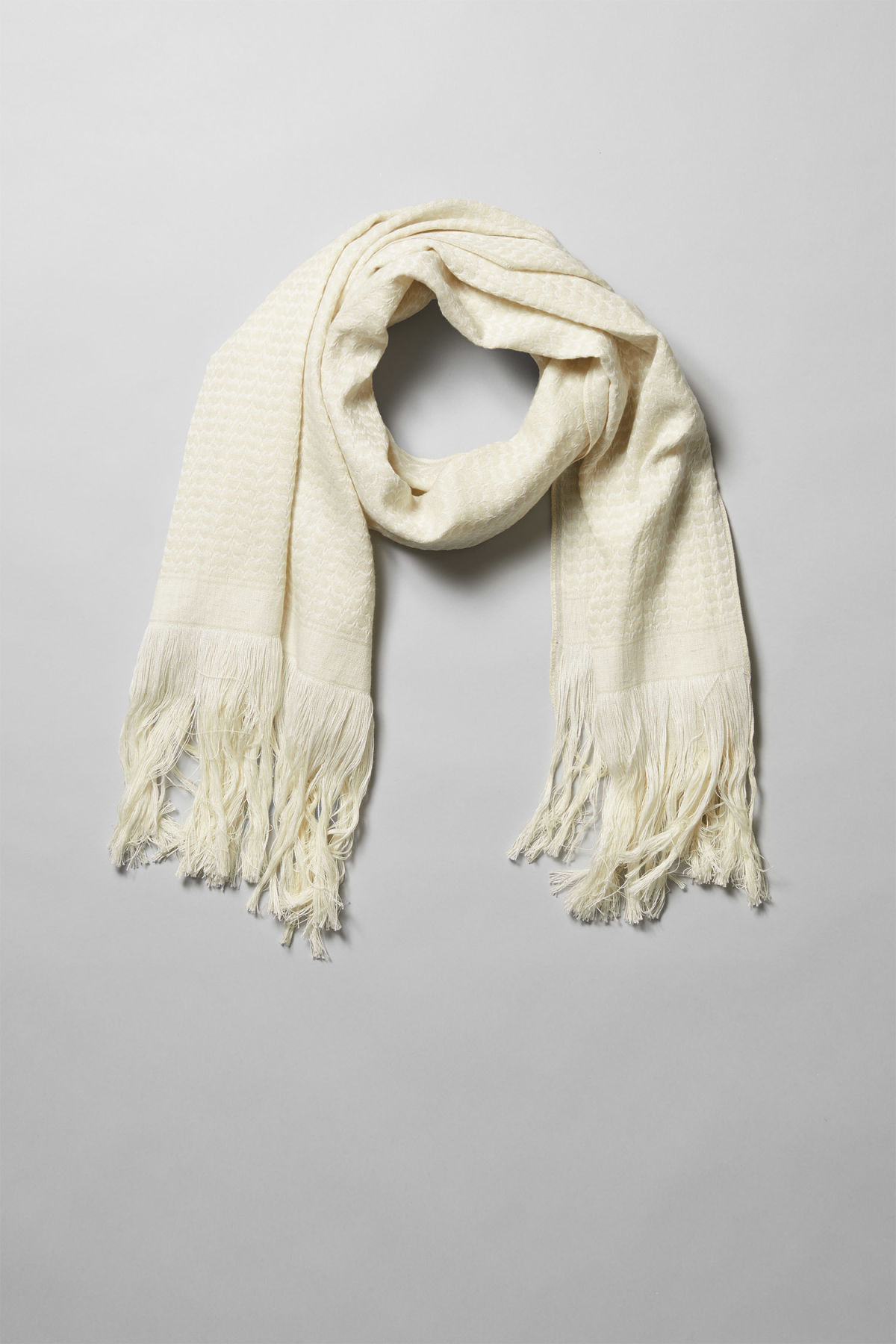 Front image of Weekday duad scarf in white