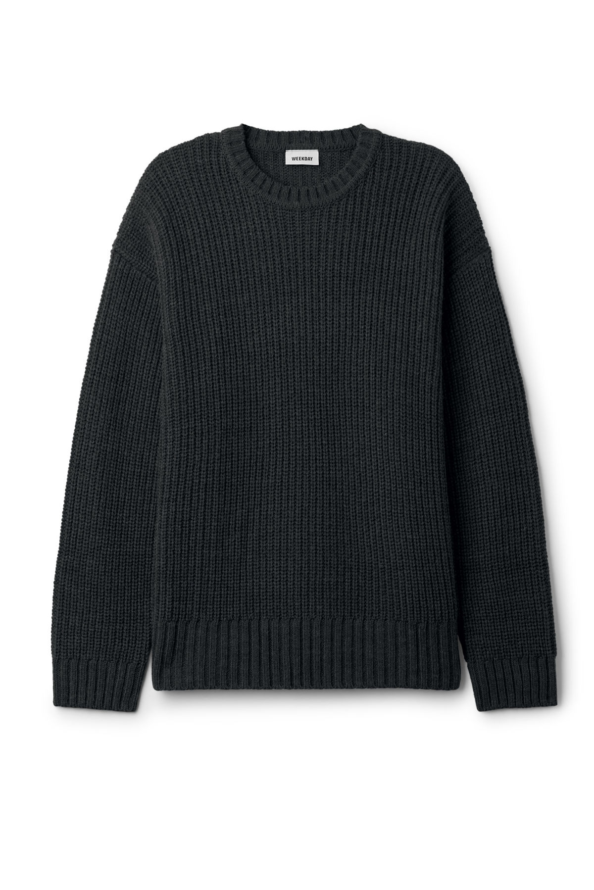 Front image of Weekday dieago sweater in black
