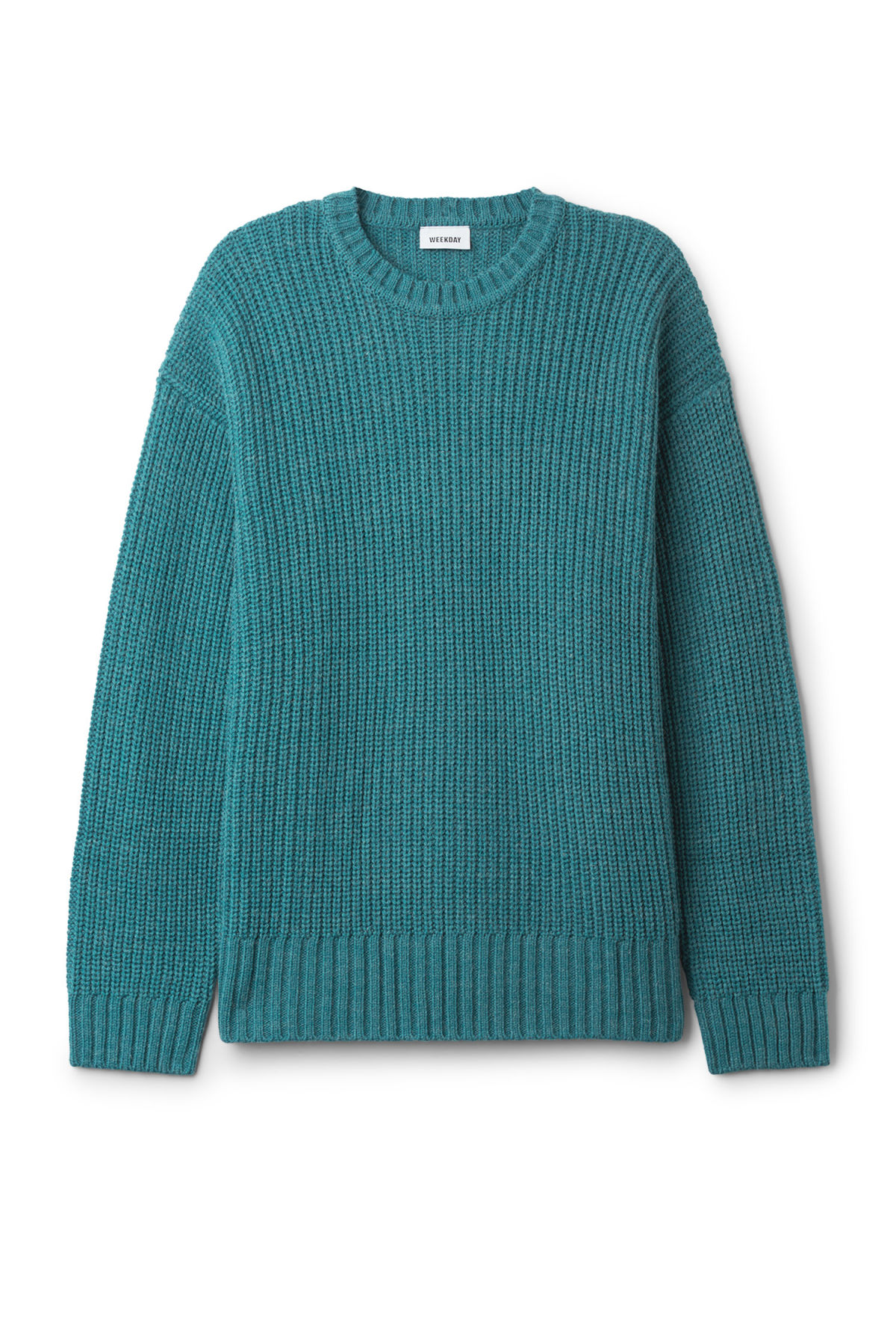 Front image of Weekday dieago sweater in turquoise