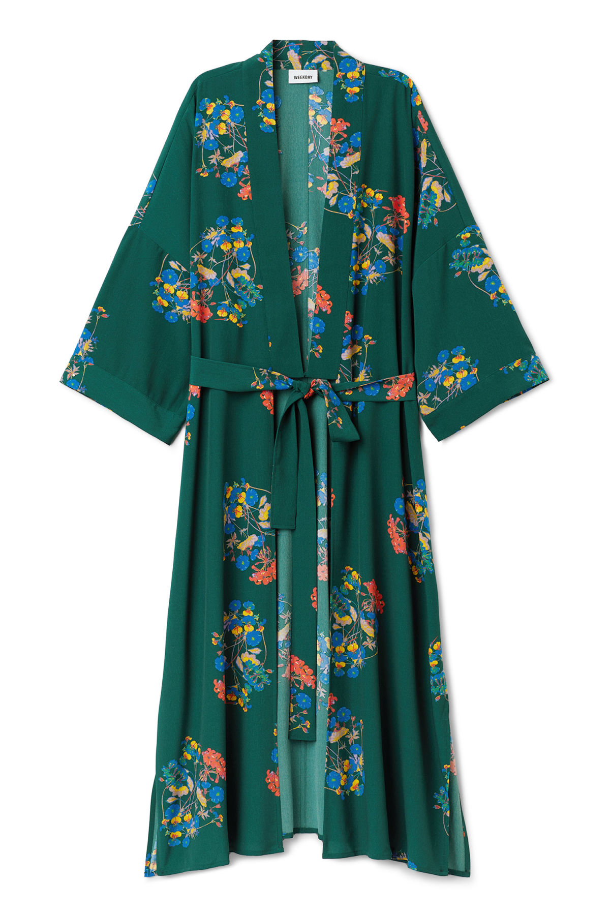 Front image of Weekday bass kimono in green