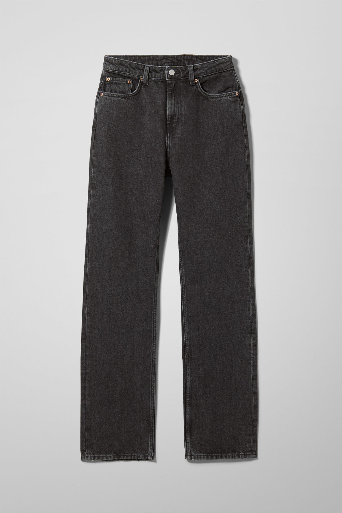 Front image of Weekday voyage trotter black jeans in black