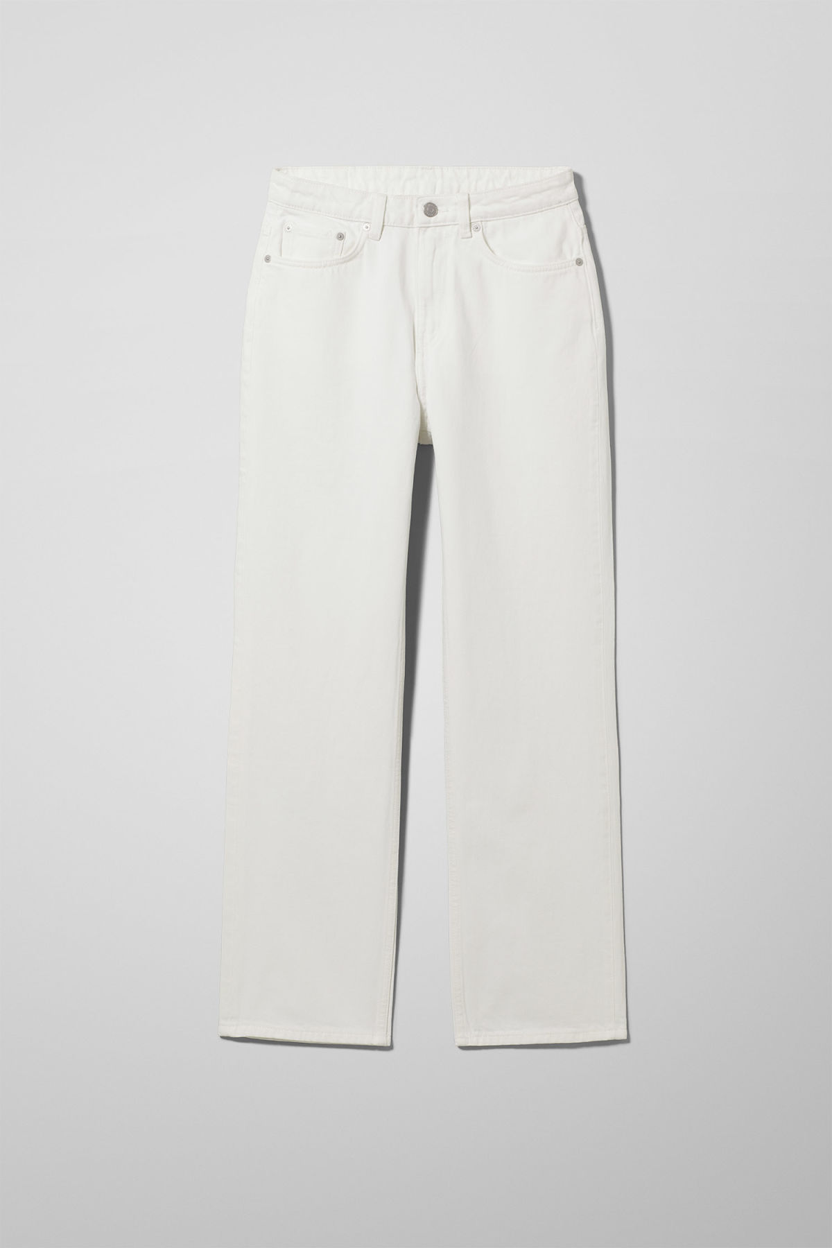 Front image of Weekday voyage loved white jeans in white