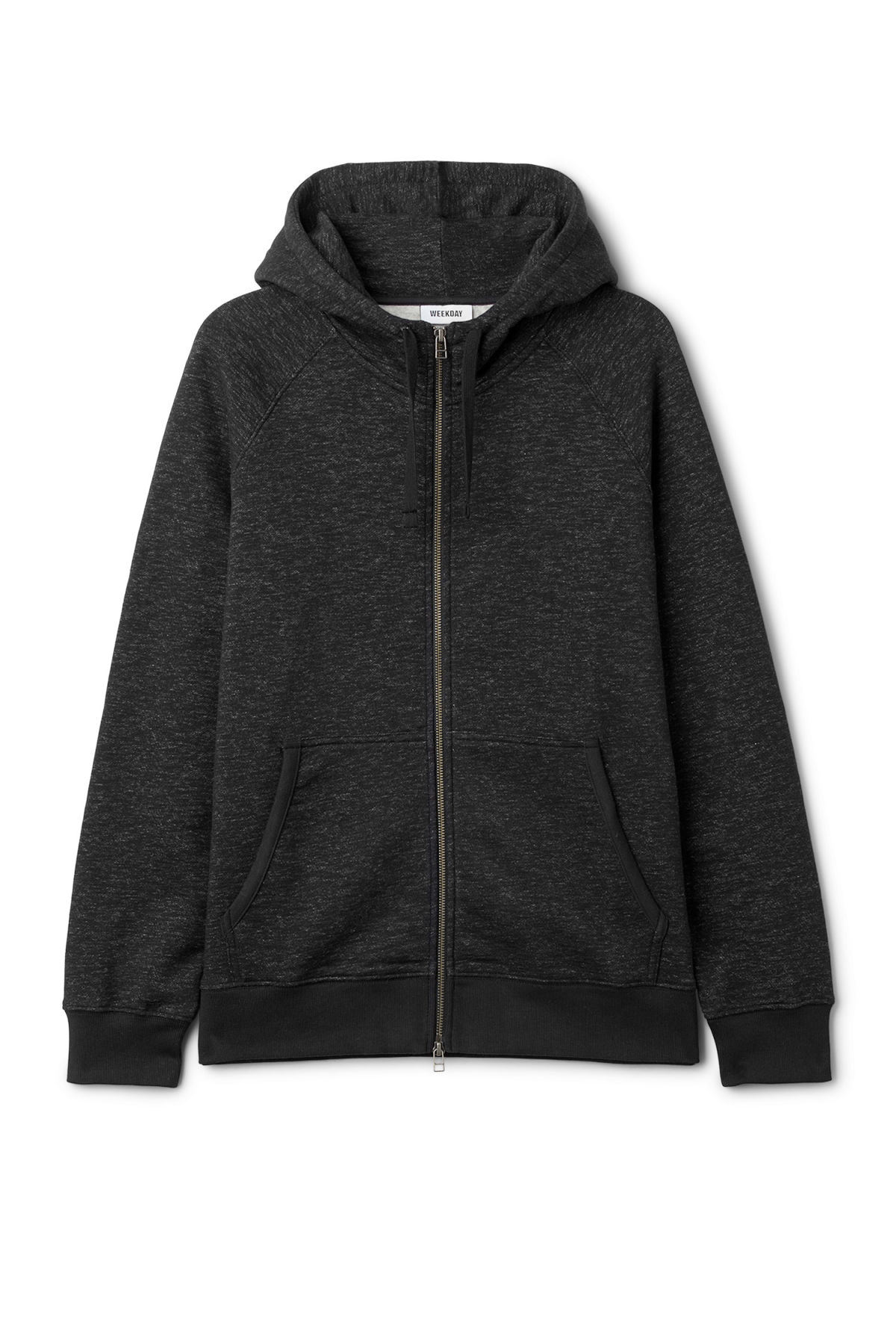 Front image of Weekday stark hoodie in black
