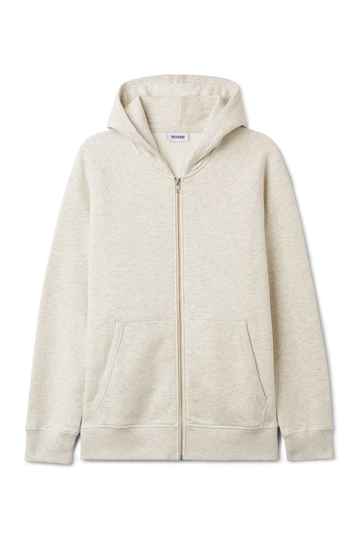 Front image of Weekday stark hoodie in beige