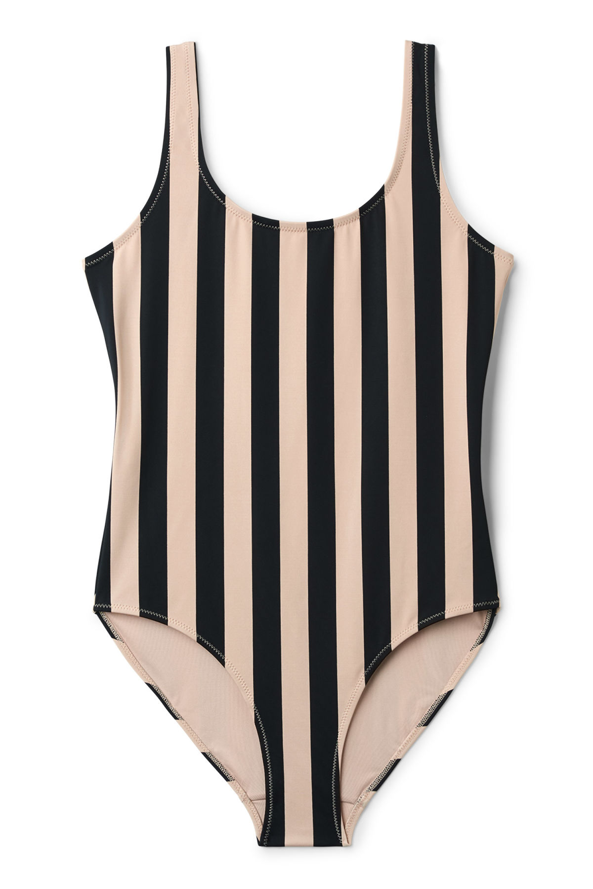 Front image of Weekday day striped swimsuit                                                                                 in black