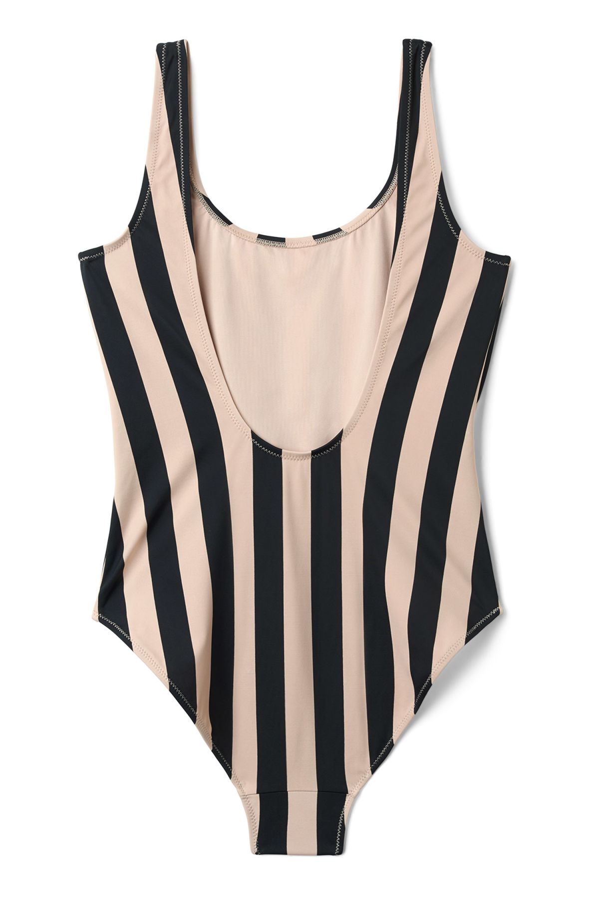 Back image of Weekday day striped swimsuit                                                                                 in black