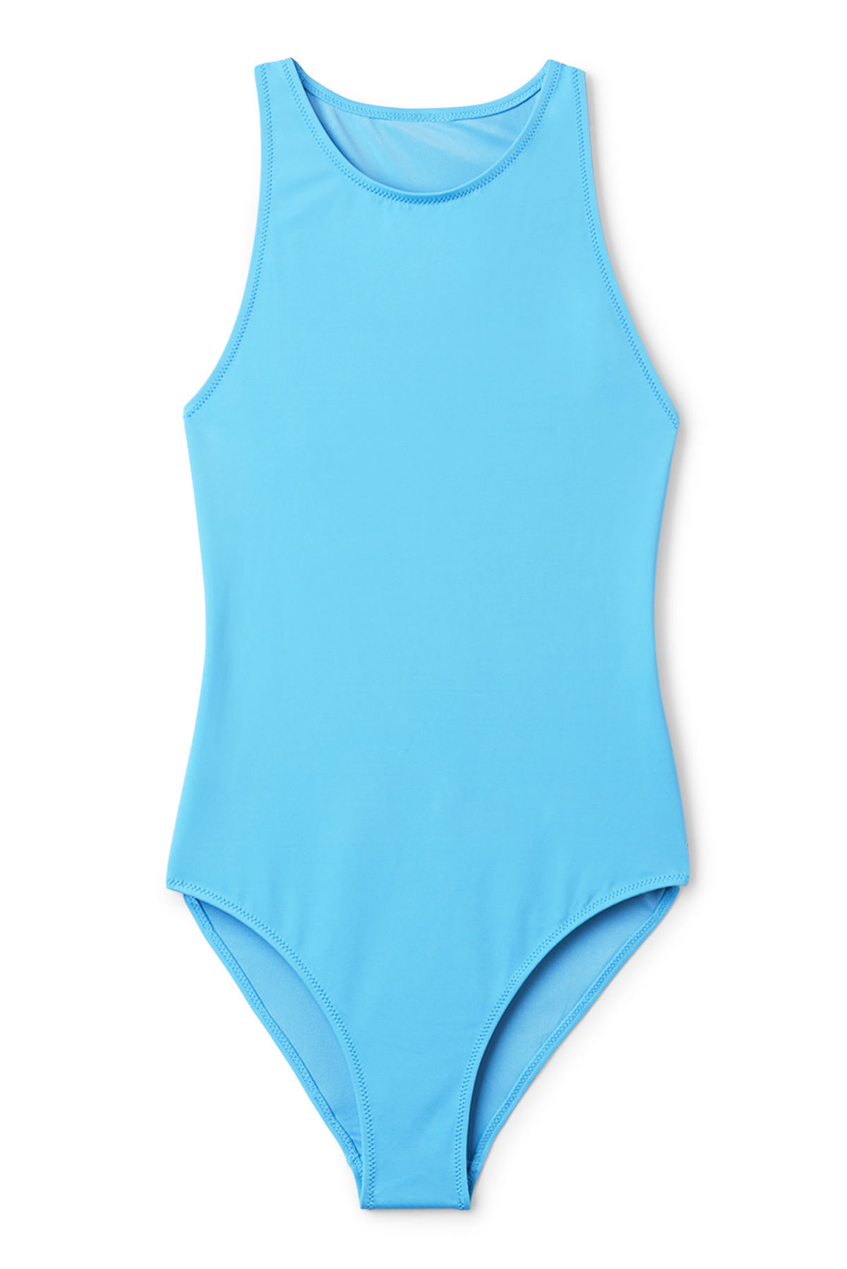 Front image of Weekday aperture swimsuit in blue