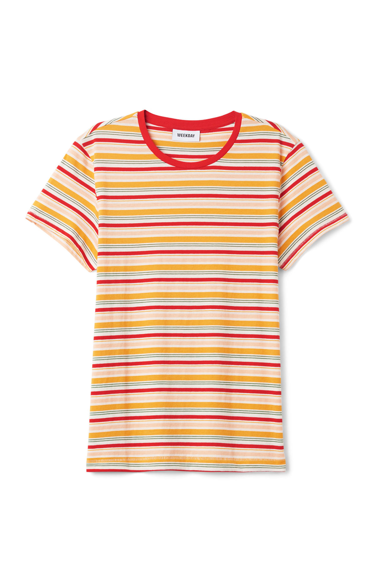 Front image of Weekday tagan tee in yellow