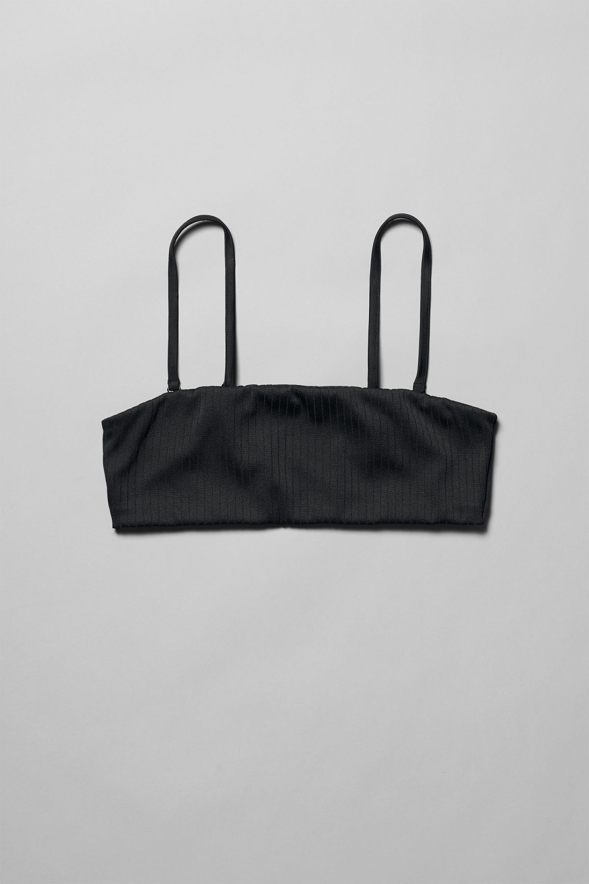 Front image of Weekday latitude swim top in black