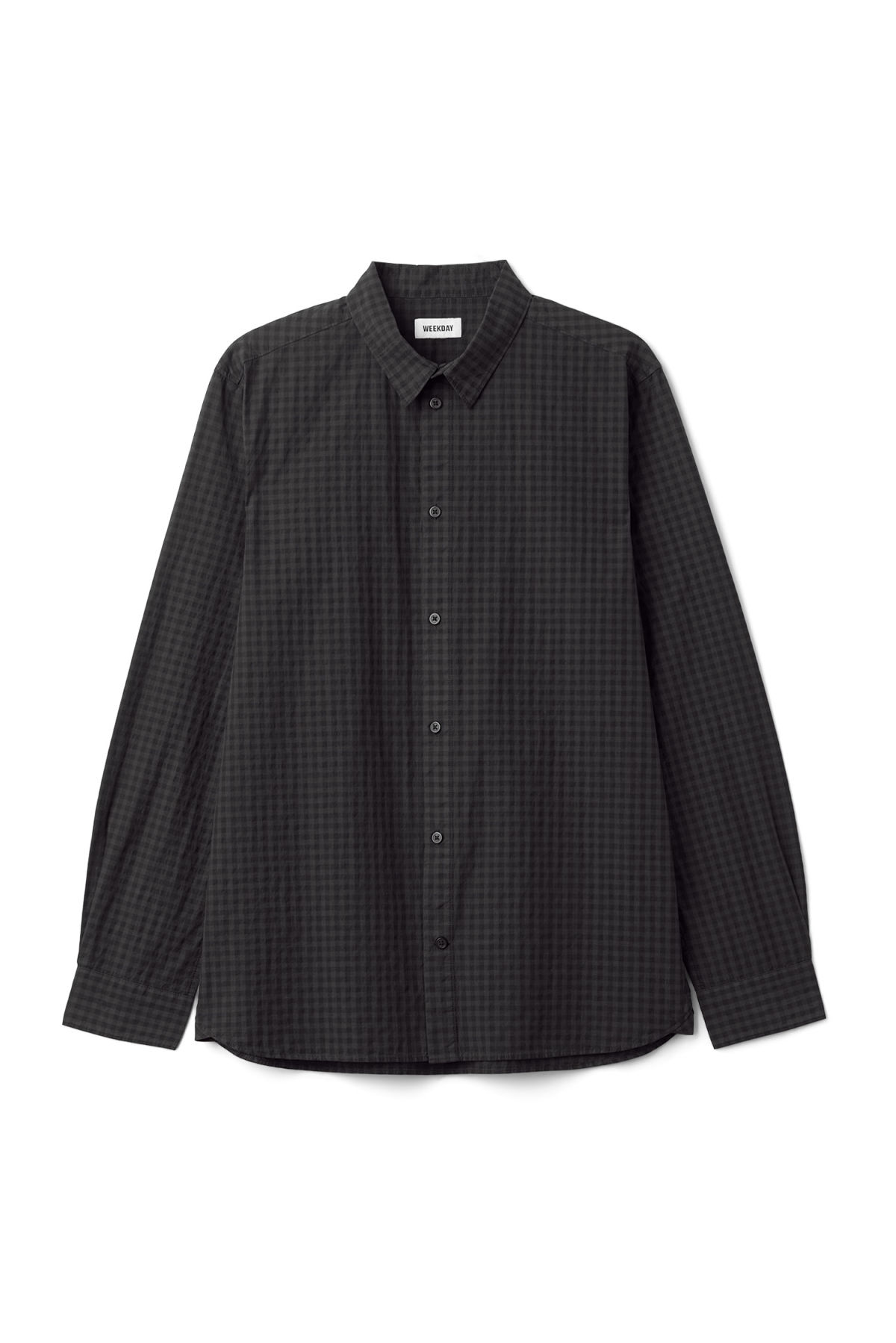 Front image of Weekday florida check shirt in black