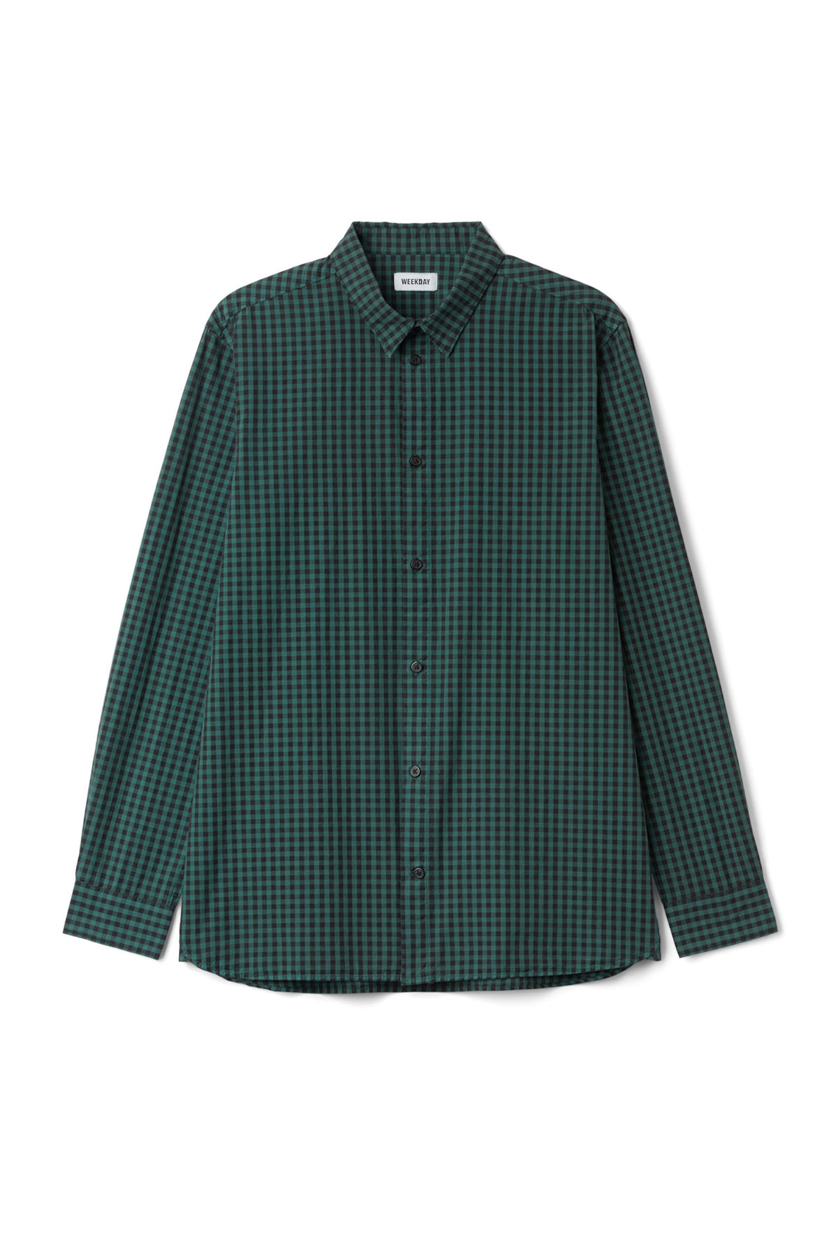 Front image of Weekday florida check shirt in turquoise