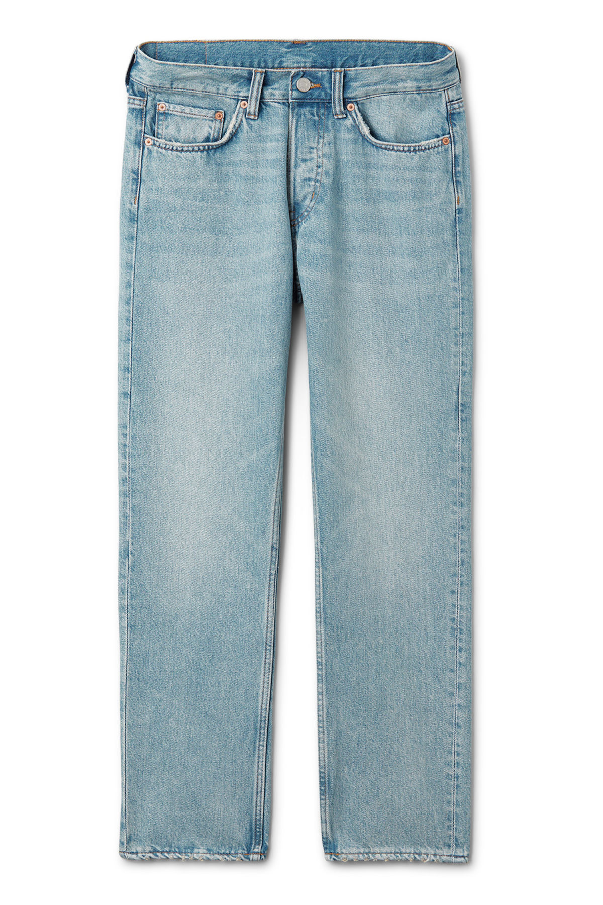 Front image of Weekday vacant cropped spring blue jeans in blue