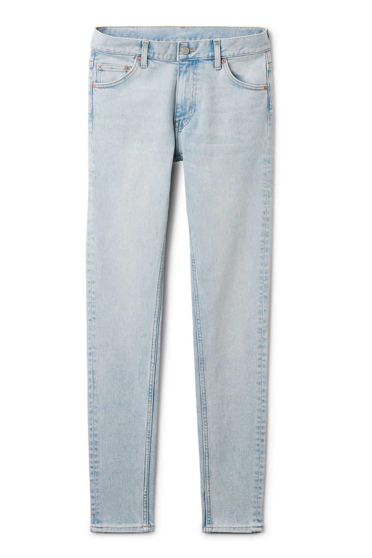 Front image of Weekday form loved blue jeans in blue