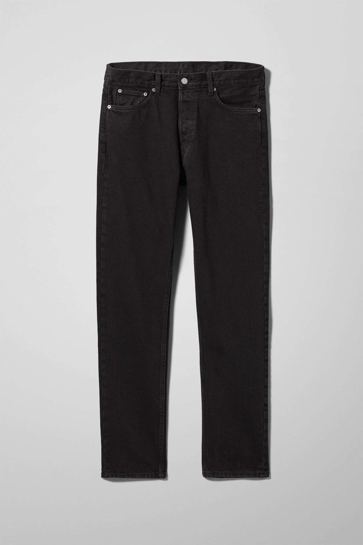 Front image of Weekday pine tuned black jeans in black