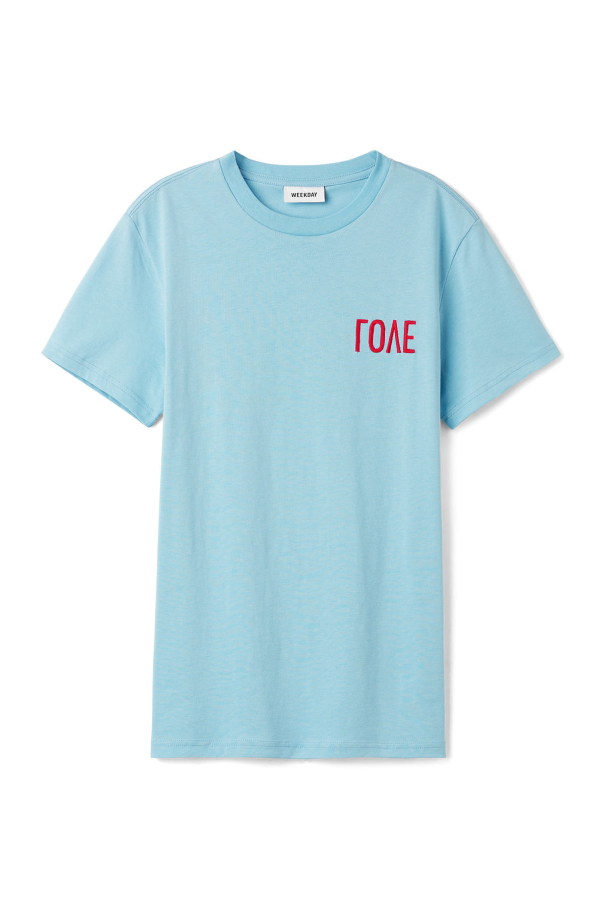 Front image of Weekday alan love t-shirt in blue