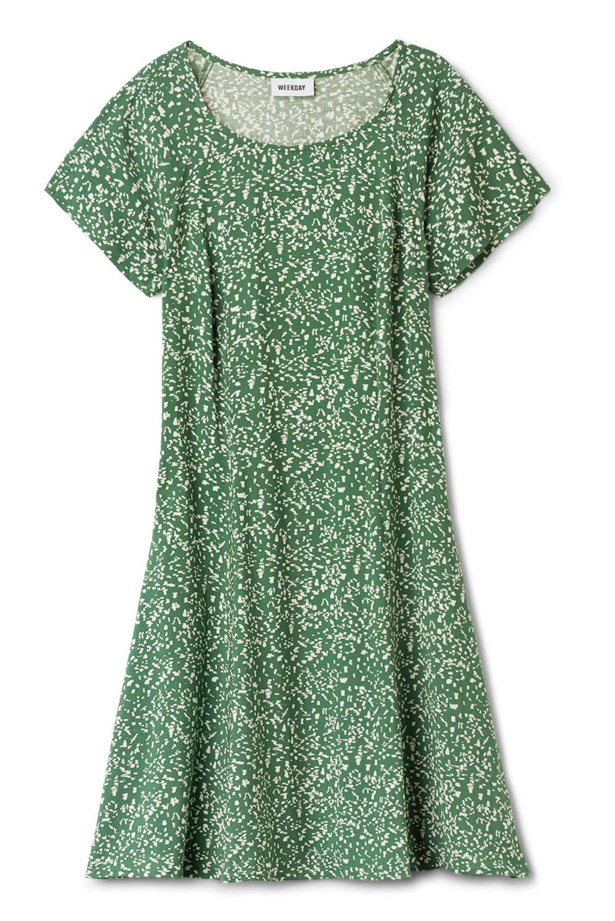Front image of Weekday vibrato dress in green