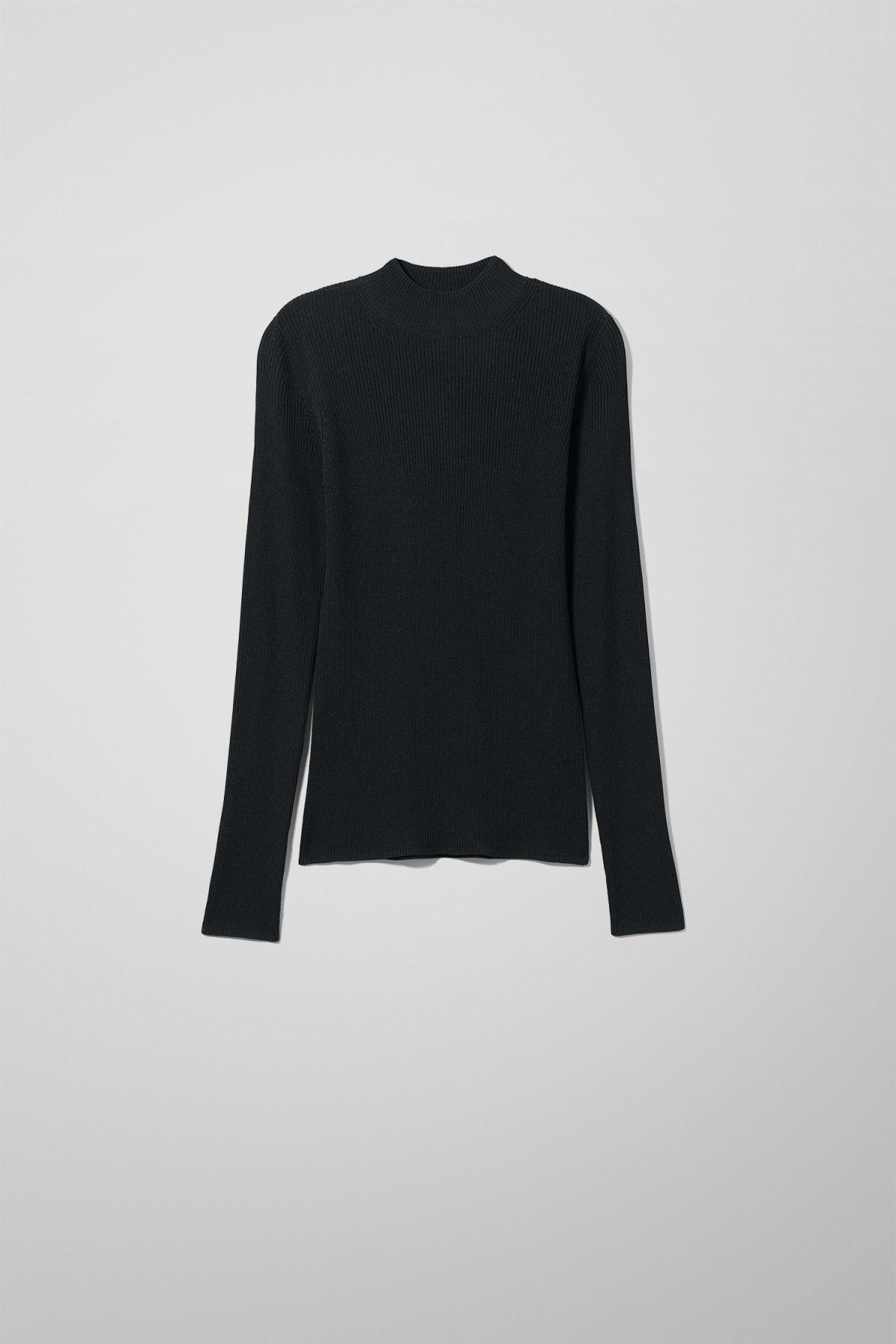 Front image of Weekday haze knit top in black