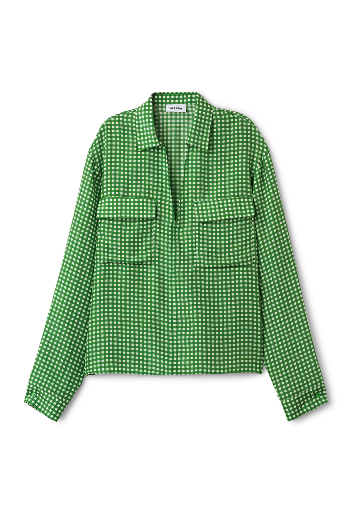 Front image of Weekday blithe blouse in green