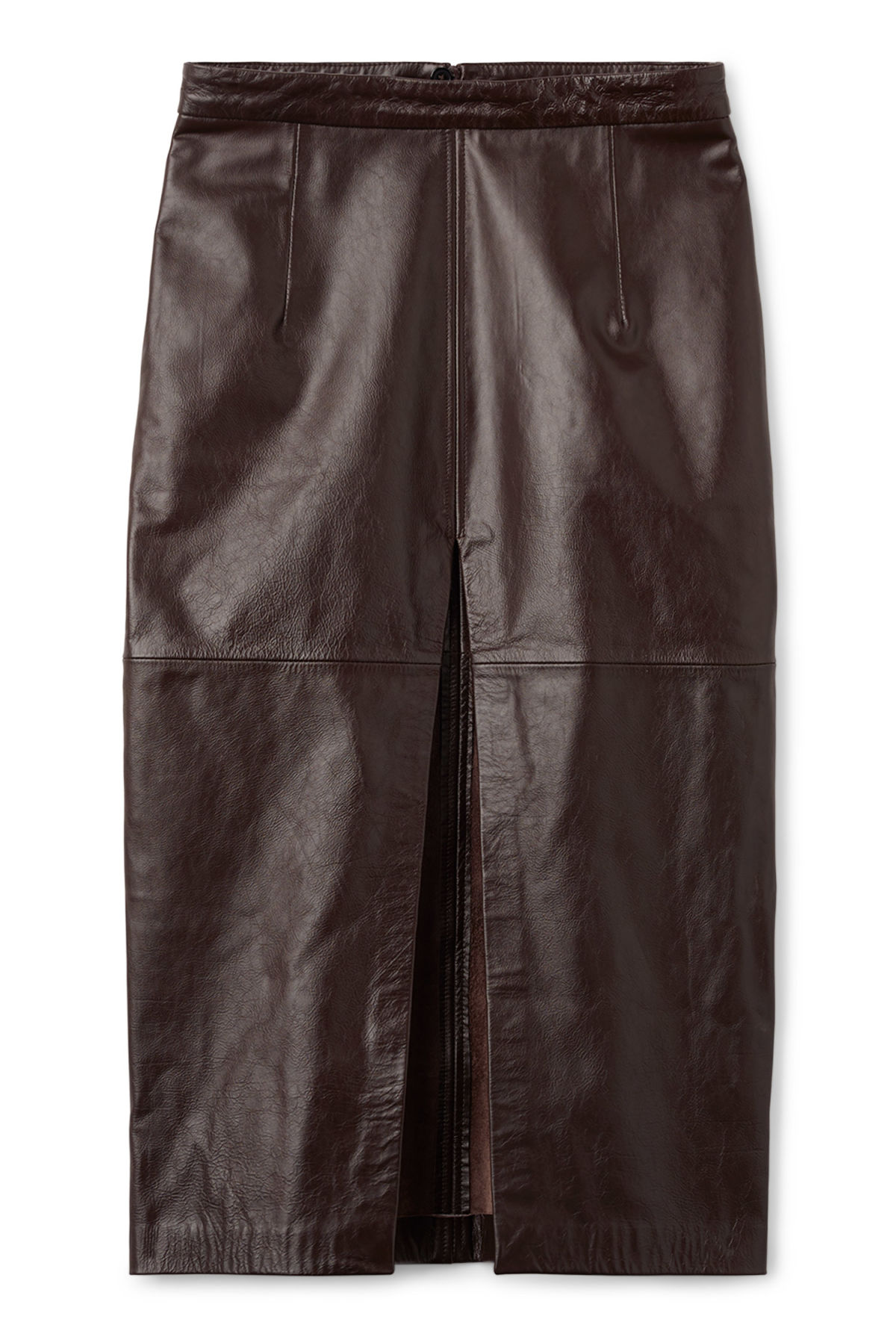 Front image of Weekday serenity leather skirt in brown