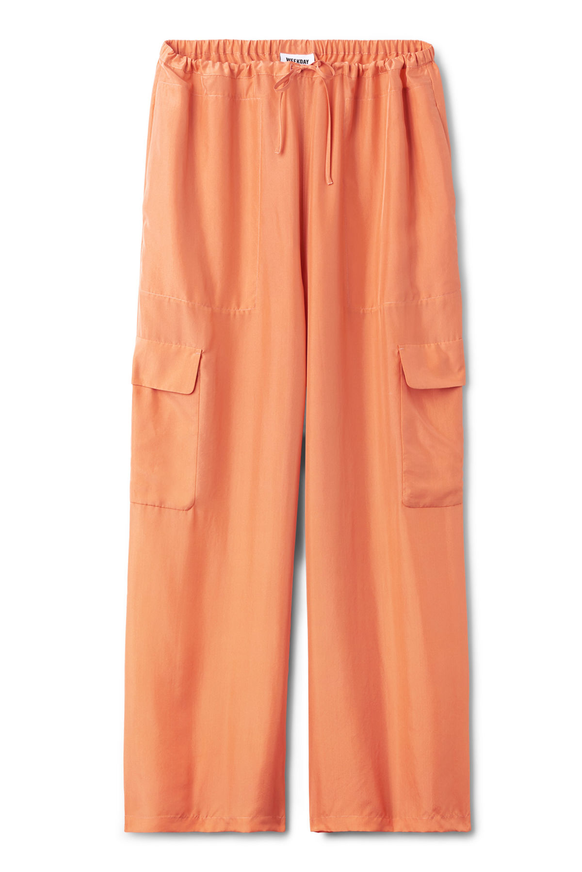 Front image of Weekday sana trousers  in orange