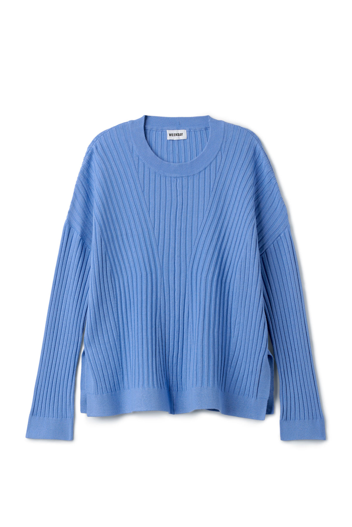Front image of Weekday ron directional sweater in blue