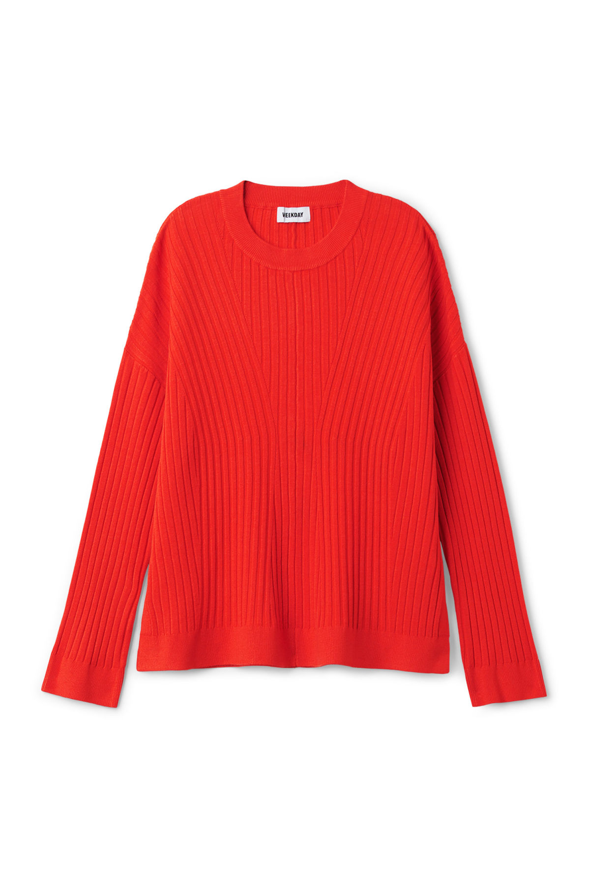 Front image of Weekday ron directional sweater in orange
