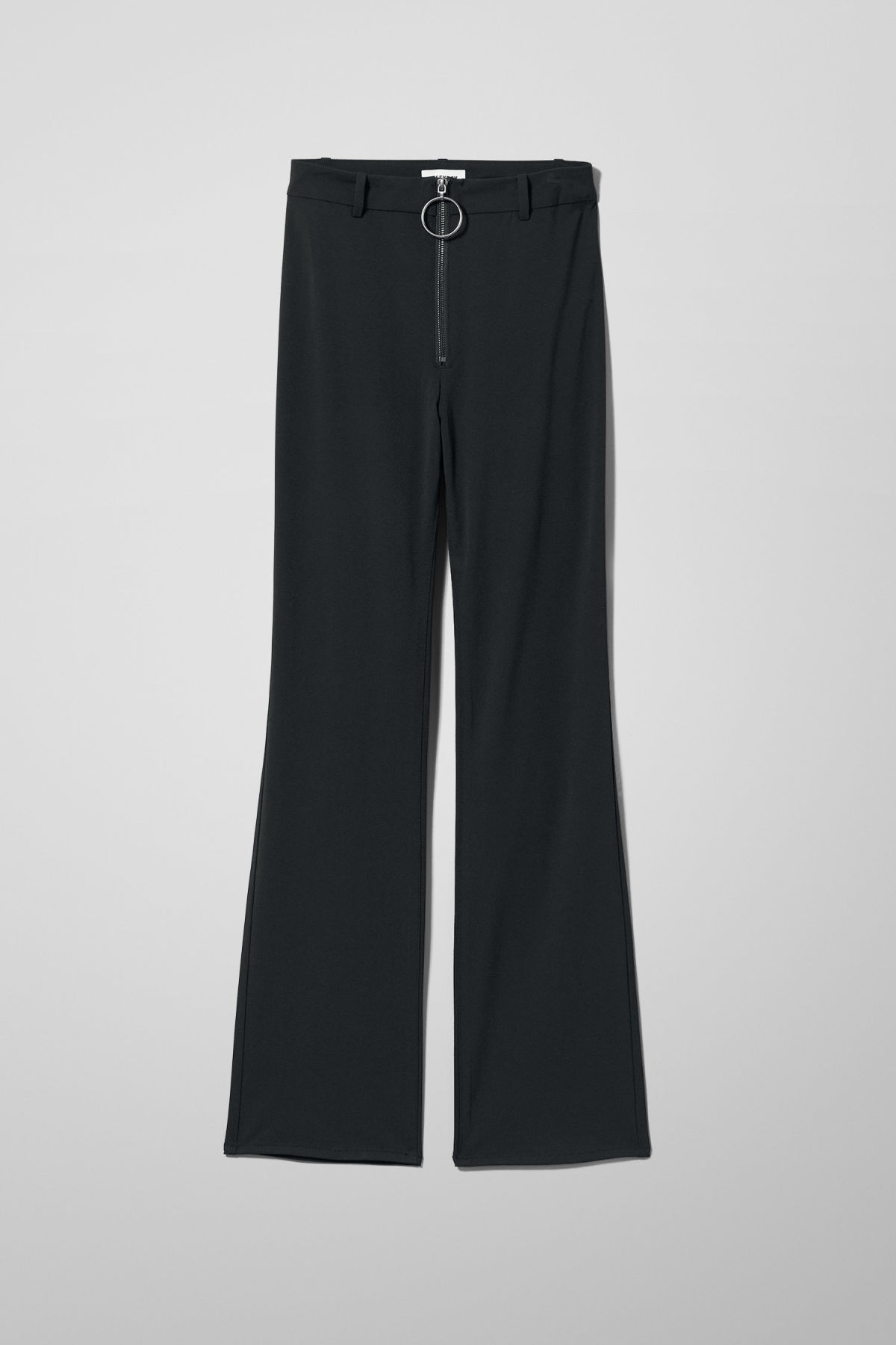 Front image of Weekday manet trousers in black