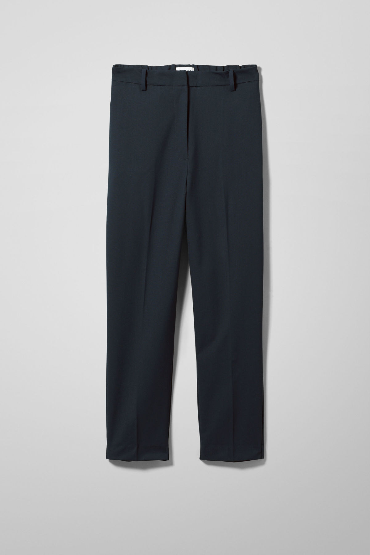 Front image of Weekday frank trousers in blue