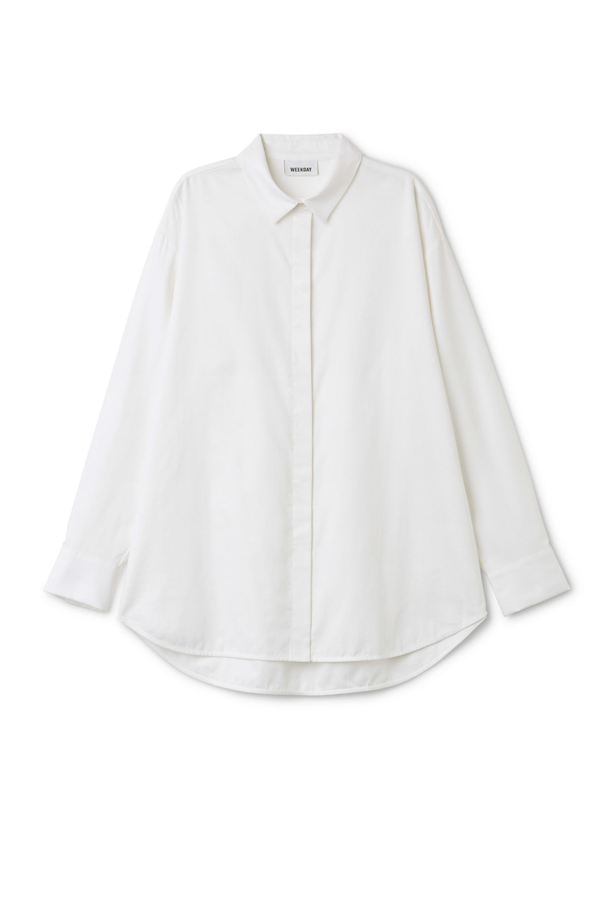 Front image of Weekday henri shirt in white