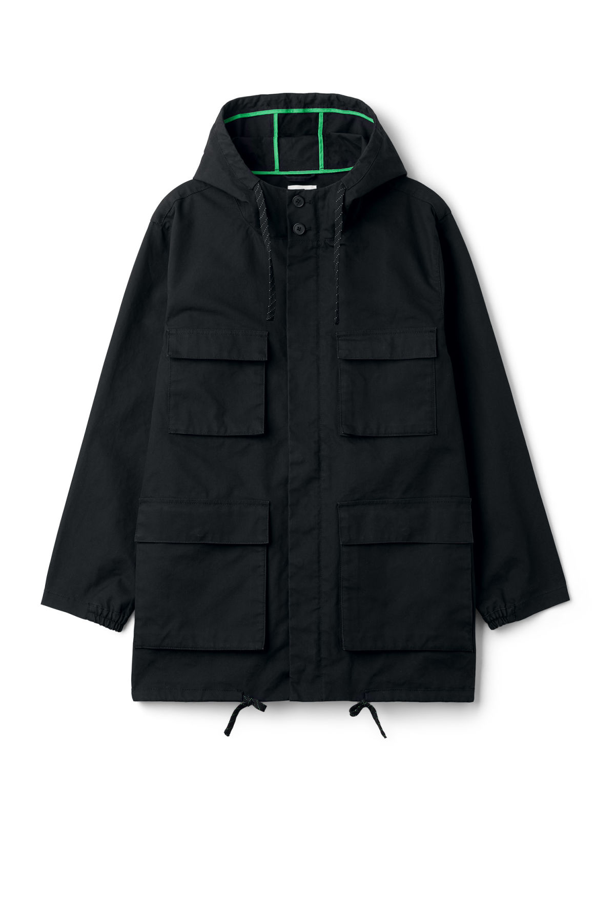 Front image of Weekday ashcan parka in black