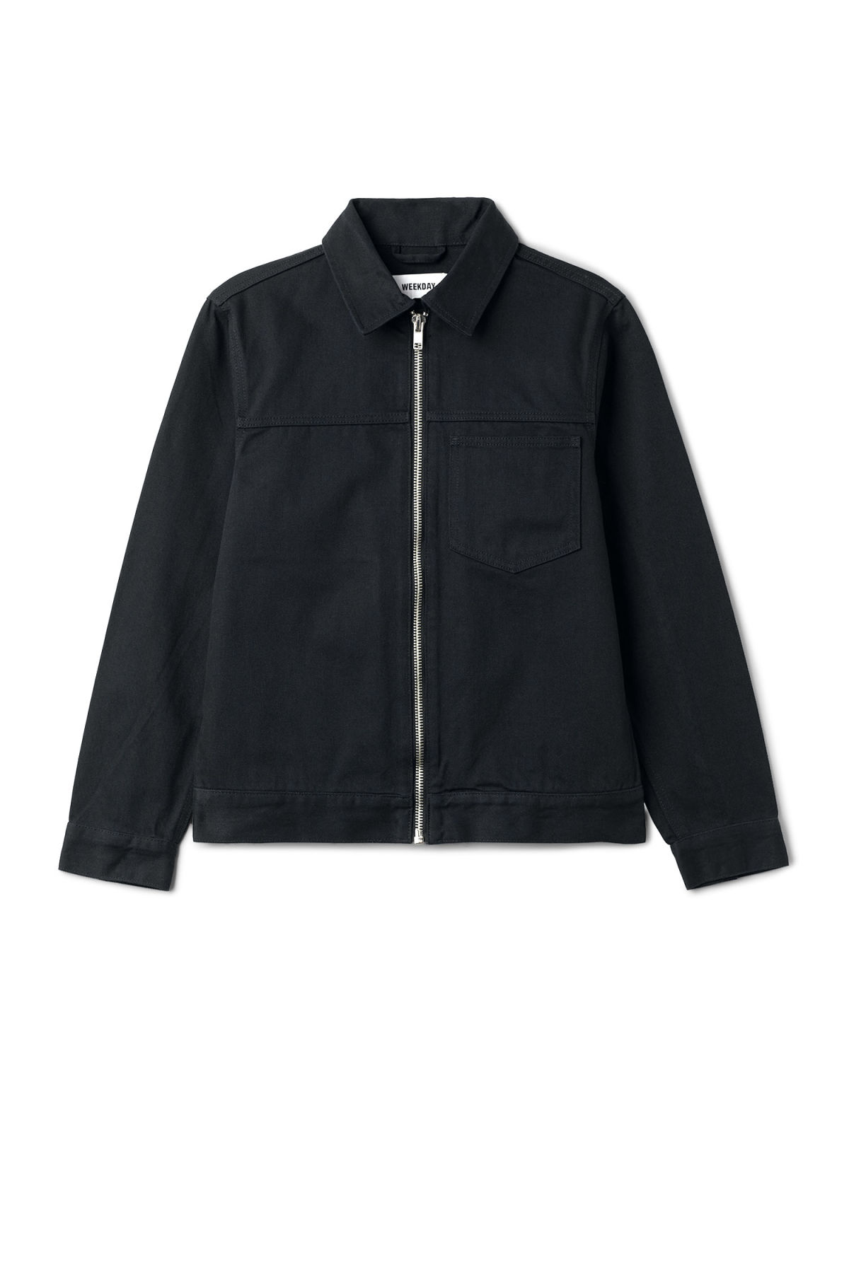 Front image of Weekday core zip jacket in blue