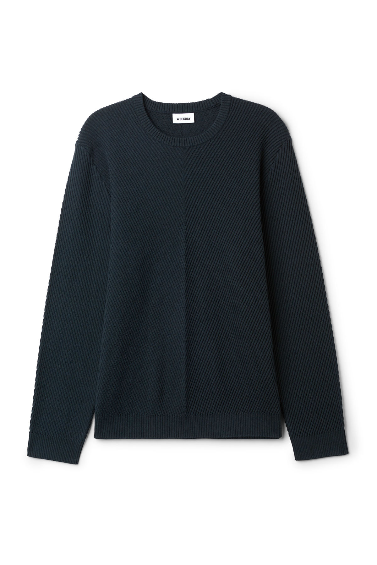 Front image of Weekday infuse rib sweater in blue