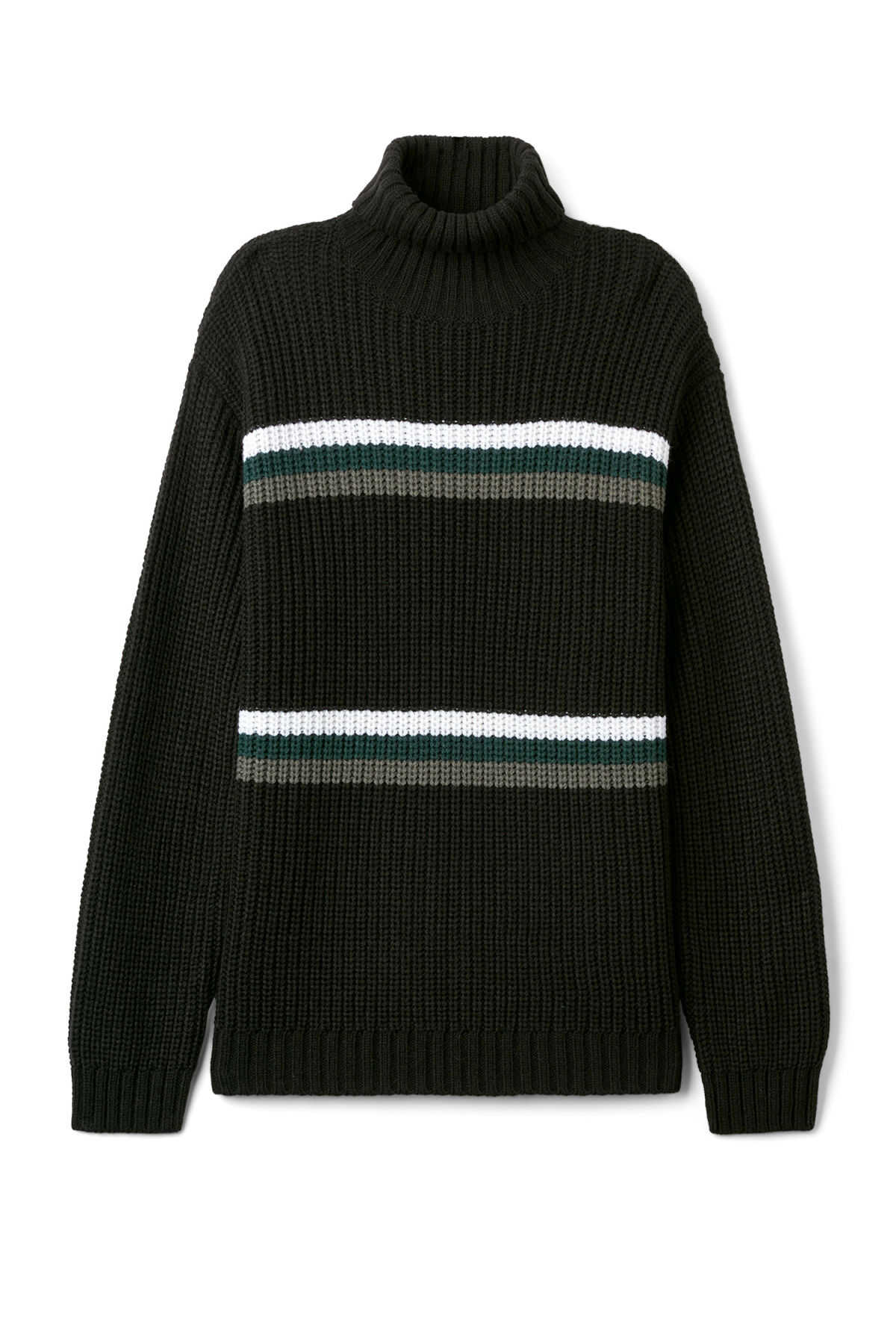 Front image of Weekday loop turtleneck sweater in black