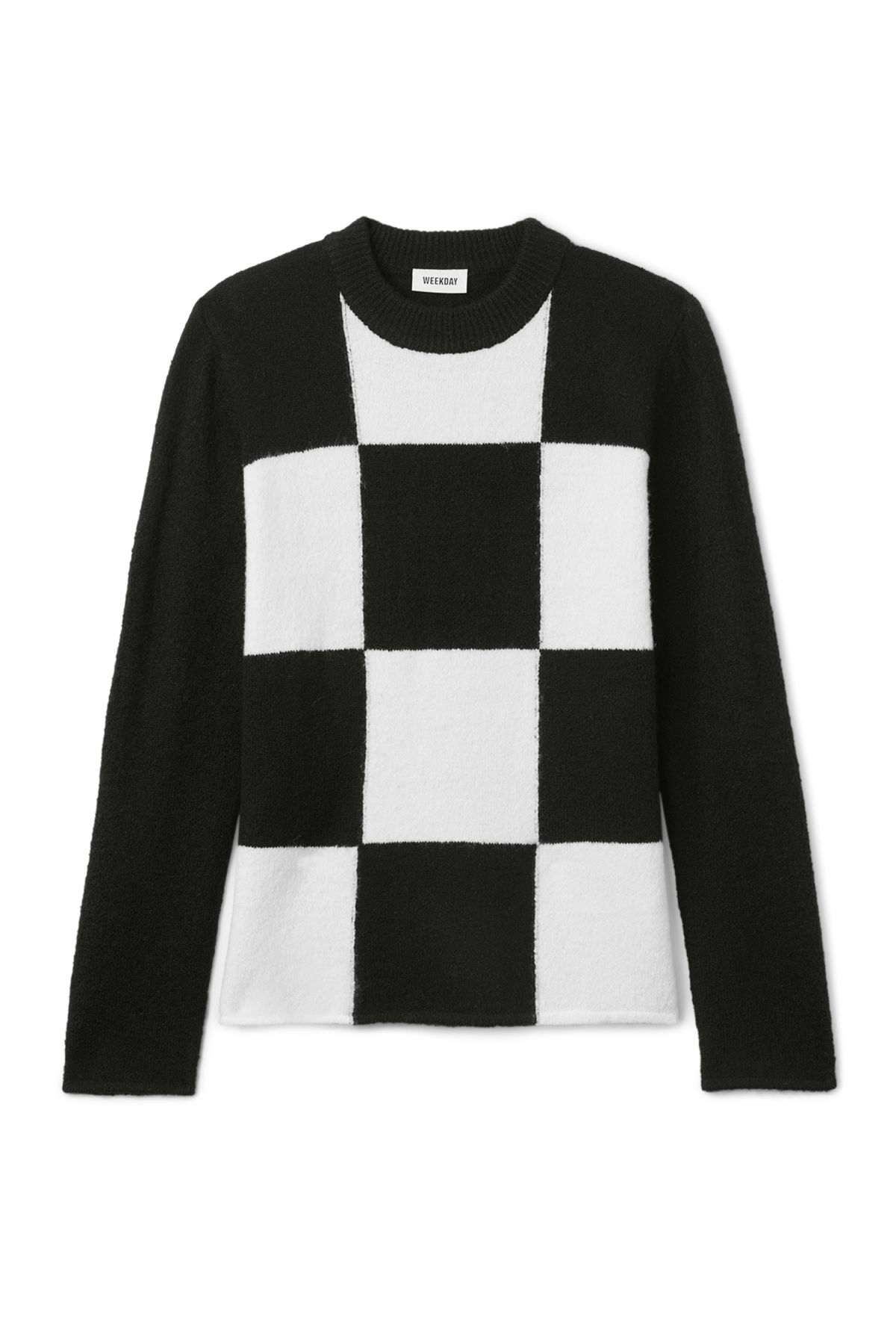 Front image of Weekday swift checked sweater  in black