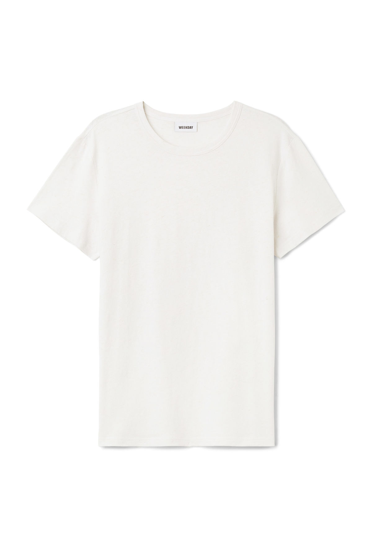 Front image of Weekday linen t-shirt in white