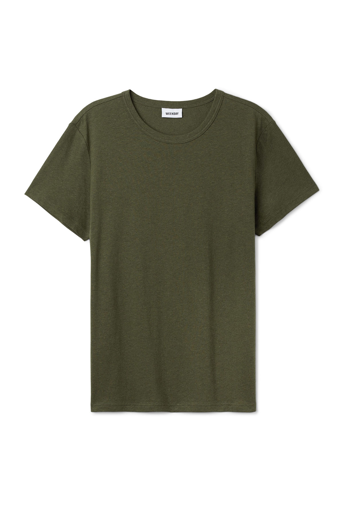 Front image of Weekday linen t-shirt in green