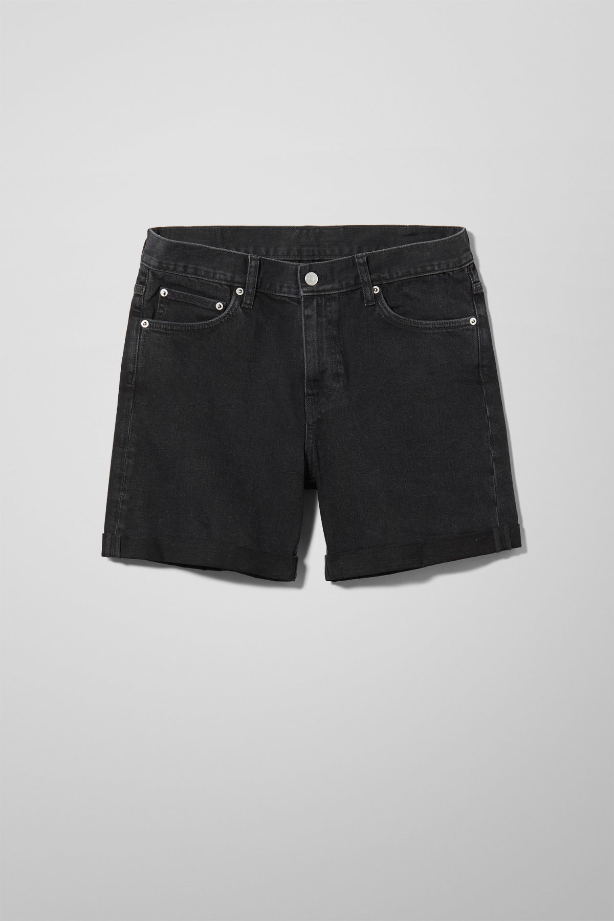 Front image of Weekday beach day tuned black shorts in black