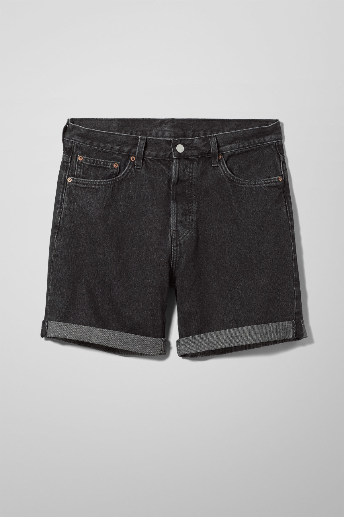 Front image of Weekday vacant trotter black shorts in black