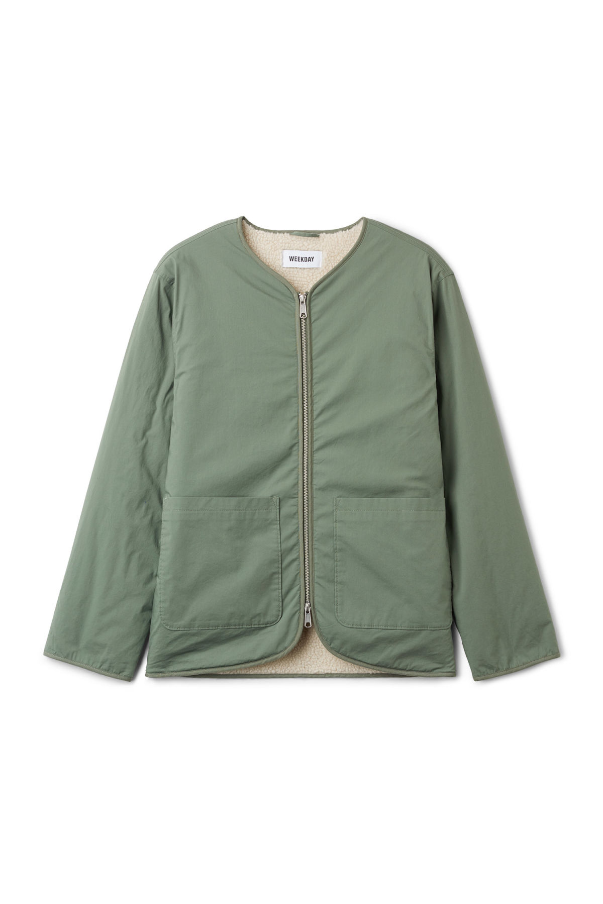 Front image of Weekday impasto liner jacket in green