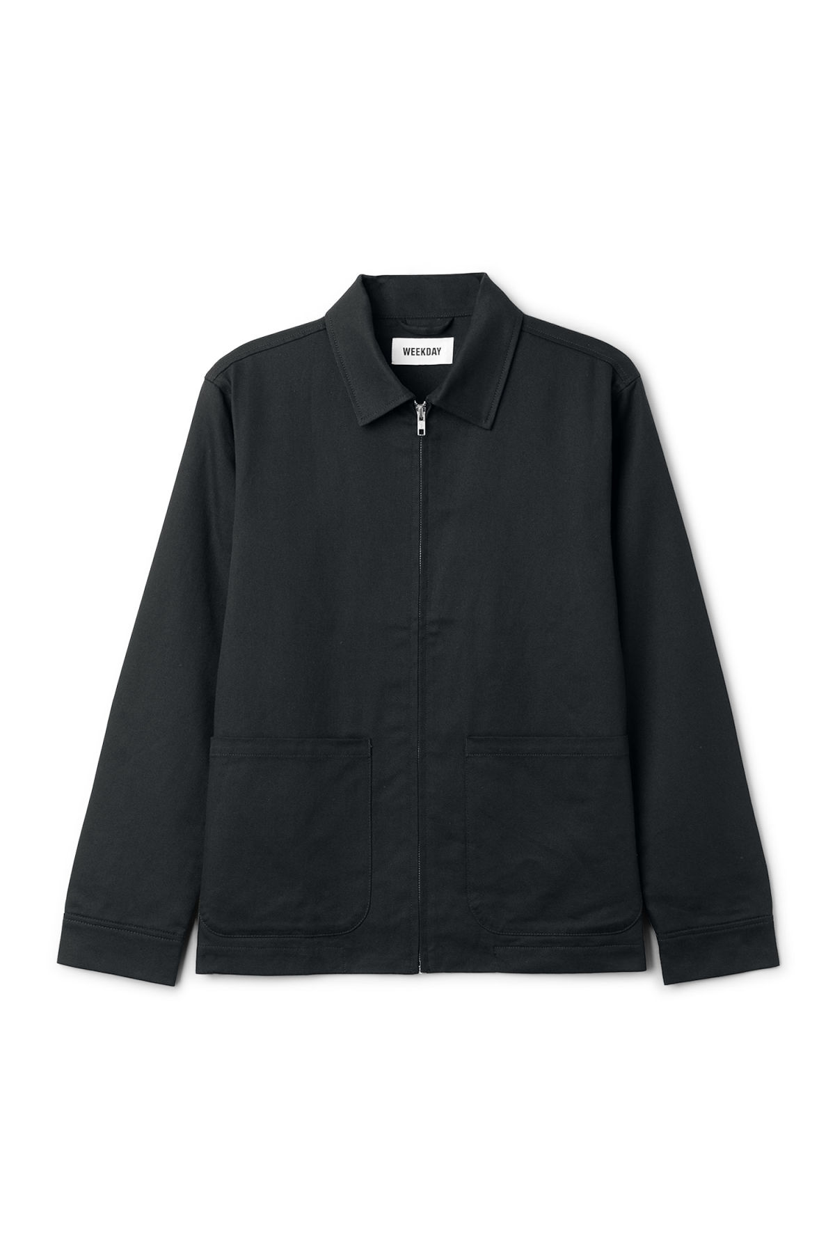 Front image of Weekday camp jacket in black