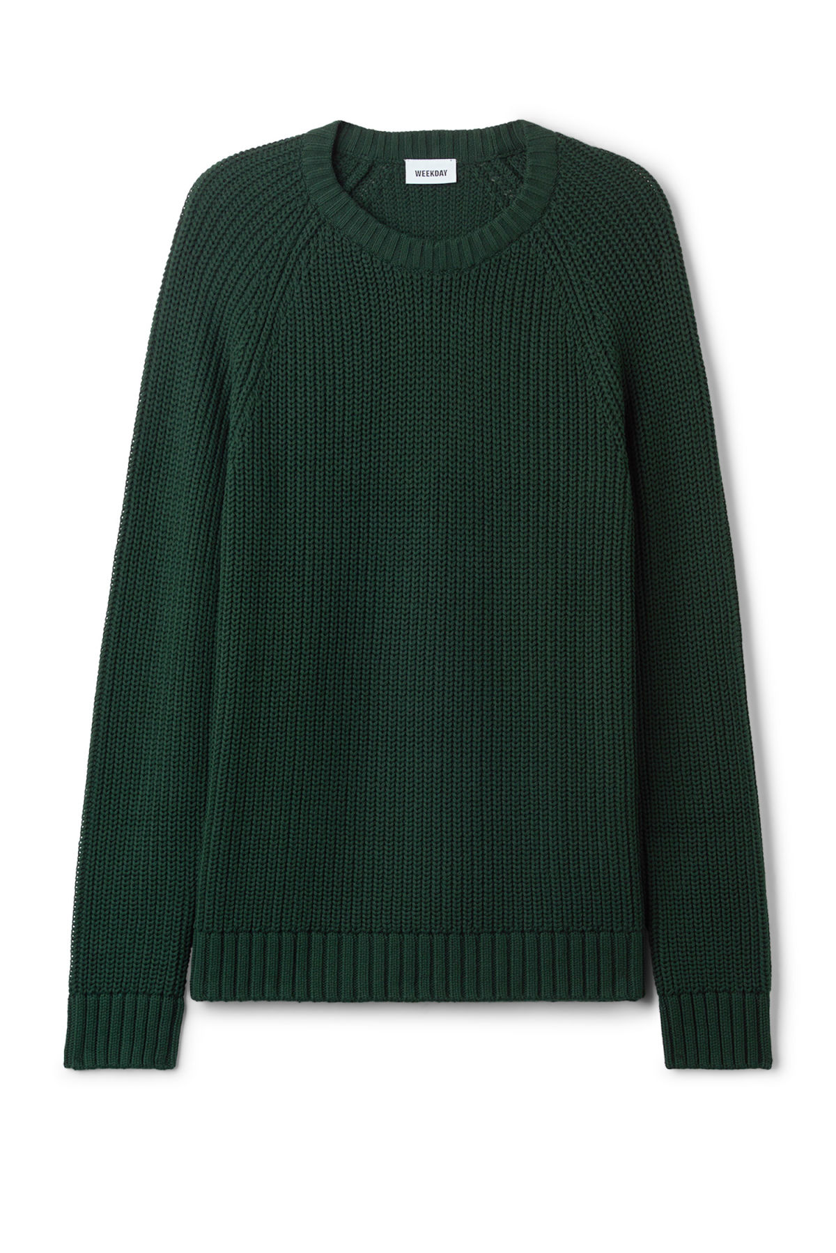 Front image of Weekday josef rib sweater  in green