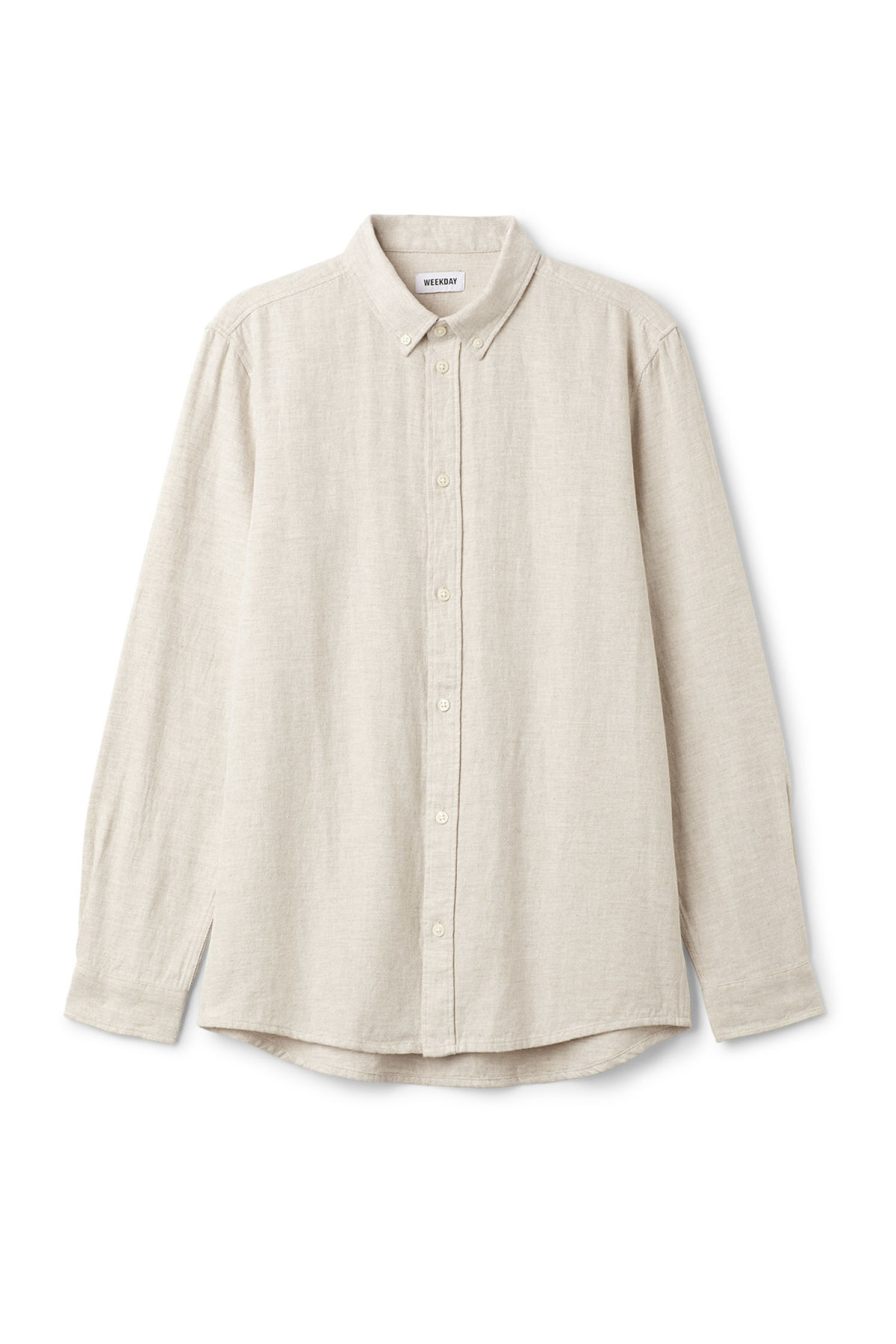 Front image of Weekday seattle twotwill shirt in beige