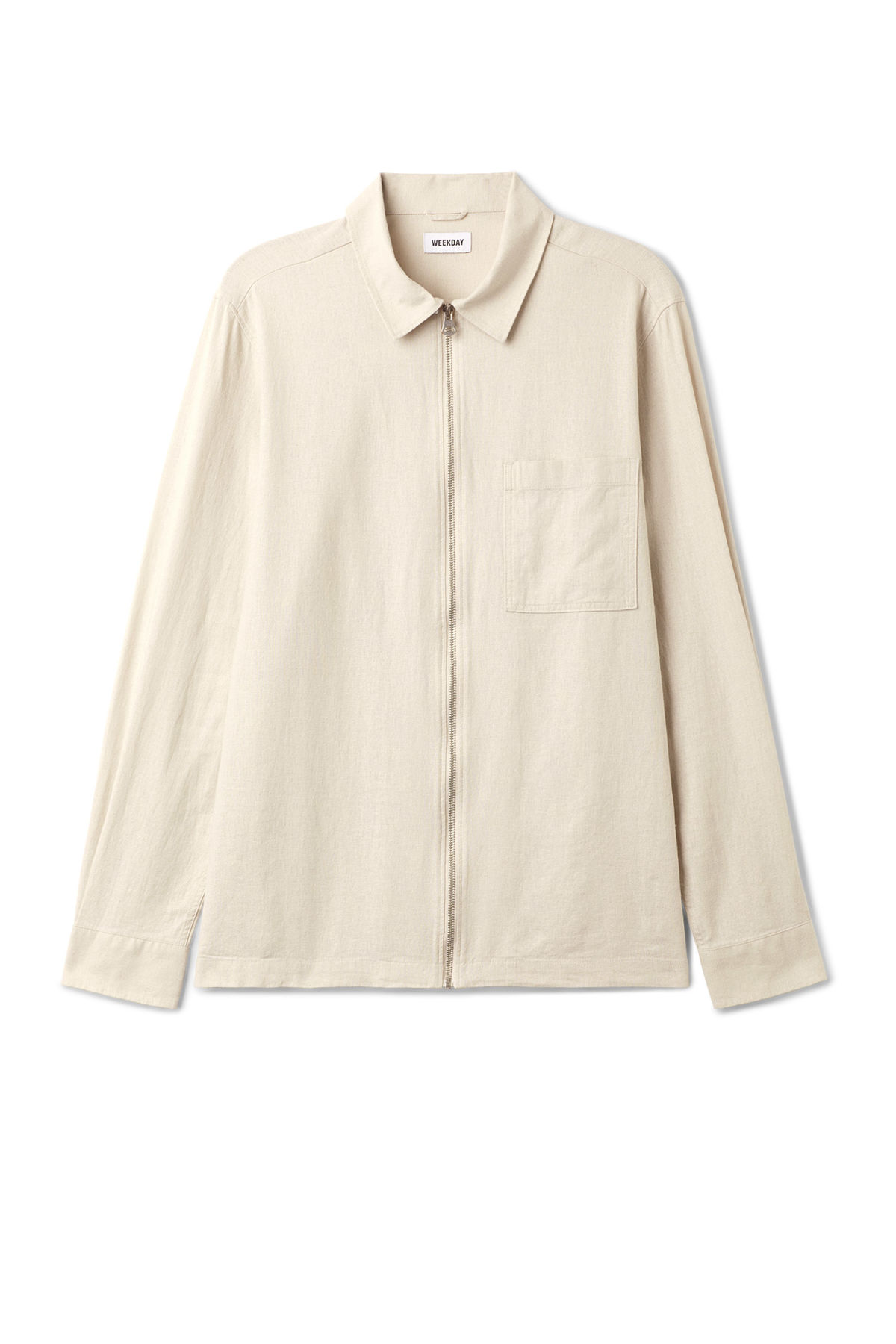 Front image of Weekday temp linen shirt in brown