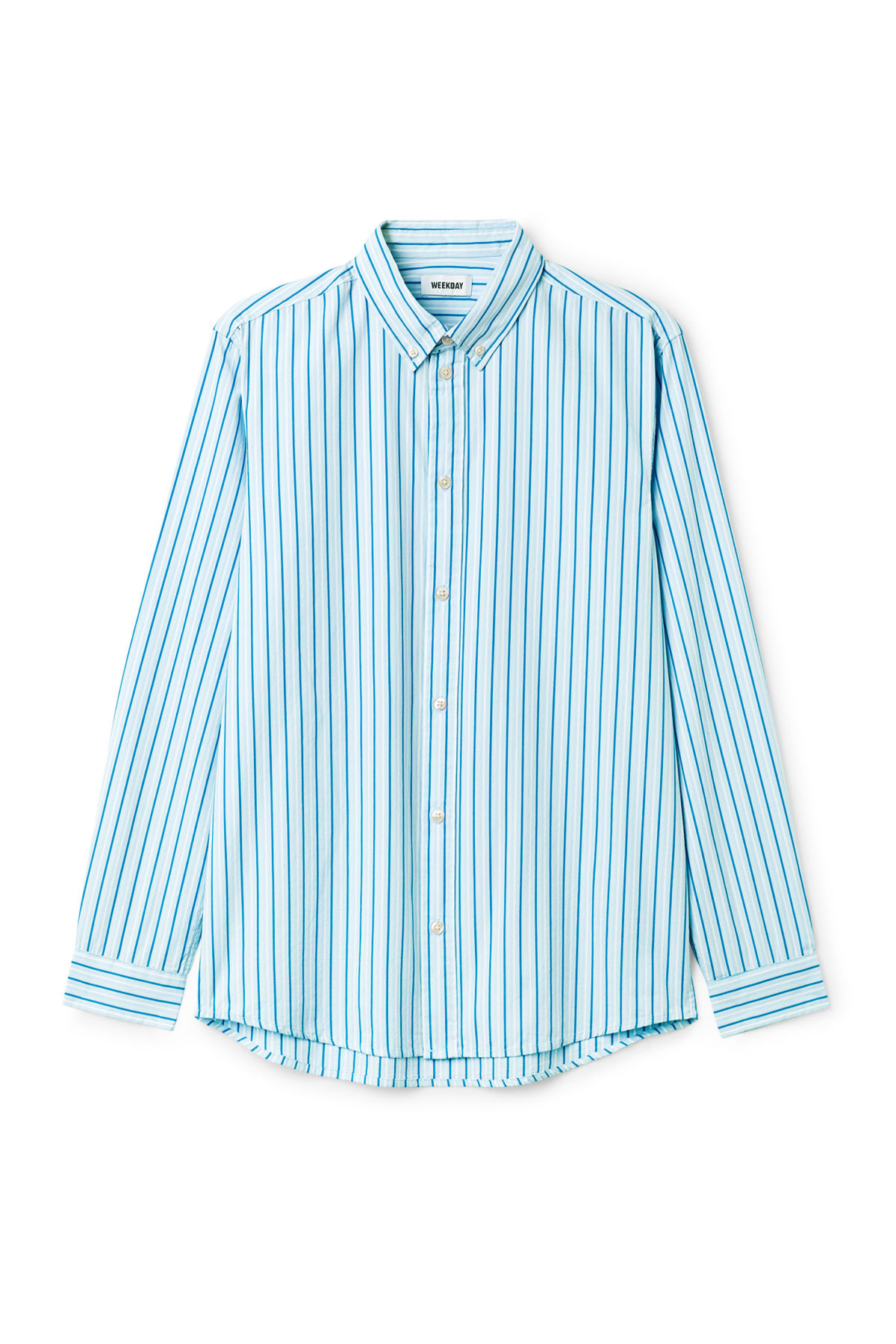 Front image of Weekday seattle stripe shirt in blue